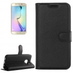 For Samsung Galaxy S6 Edge / G925 Litchi Texture Horizontal Flip Leather Case with Holder & Card Slots & Wallet(Black)