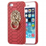 For iPhone SE & 5s & 5 Snakeskin Texture Paste Skin PC Protective Case with Lion Head Holder(Red)