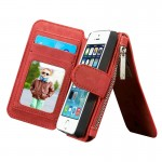 CaseMe for iPhone SE & 5s & 5 Multifunctional Leather Billfold with Detachable Magnetic PC Protective Case & 13 Card Slots & 1 P