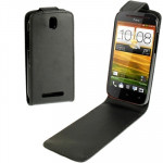 High Quality Pure Color Leather Case for HTC One SV (Black)