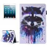 For iPad mini 4 / 3 / 2 / 1 Painting Colorful Raccoon Pattern Horizontal Flip Leather Case with Holder & Wallet & Card Slots & P