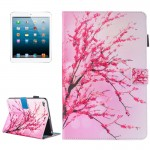 For iPad mini 4 / 3 / 2 / 1 Painting Peach Blossom Pattern Horizontal Flip Leather Case with Holder & Wallet & Card Slots & Pen
