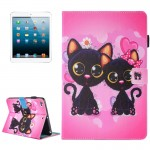 For iPad mini 4 / 3 / 2 / 1 Painting Two Cats Pattern Horizontal Flip Leather Case with Holder & Wallet & Card Slots & Pen Slot