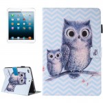 For iPad mini 4 / 3 / 2 / 1 Painting Wave Owl Pattern Horizontal Flip Leather Case with Holder & Wallet & Card Slots & Pen Slot