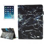 For iPad 9.7 inch 2017 / iPad Air / iPad Air 2 Universal Black Marble Pattern Horizontal Flip Leather Protective Case with Holde