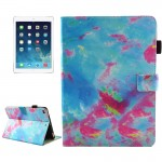 For iPad 9.7 inch 2017 / iPad Air / iPad Air 2 Universal Blue and Pink Marble Pattern Horizontal Flip Leather Protective Case wi