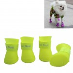 Lovely Pet Dog Shoes Puppy Candy Color Rubber Boots Waterproof Rain Shoes, L, Size: 5.7 x 4.7cm(Yellow)