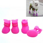 Lovely Pet Dog Shoes Puppy Candy Color Rubber Boots Waterproof Rain Shoes, M, Size: 5.0 x 4.0cm(Pink)