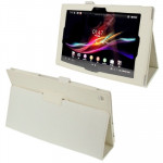 Litchi Texture Leather Case with Holder for Sony Xperia Tablet Z / 10.1(White)