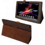 Litchi Texture Leather Case with Holder for Sony Xperia Tablet Z / 10.1(Brown)
