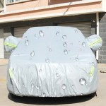 PEVA Anti-Dust Waterproof Sunproof Hatchback Car Cover with Warning Strips, Fits Cars up to 3.7m(144 Inches) In Length