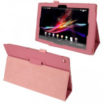 Litchi Texture Leather Case with Holder for Sony Xperia Tablet Z / 10.1(Pink)