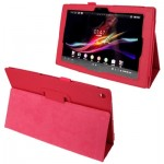 Litchi Texture Leather Case with Holder for Sony Xperia Tablet Z / 10.1(Magenta)