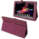 Litchi Texture Leather Case with Holder for Sony Xperia Tablet Z / 10.1(Purple)