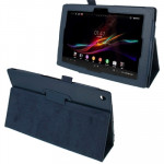 Litchi Texture Leather Case with Holder for Sony Xperia Tablet Z / 10.1(Dark Blue)