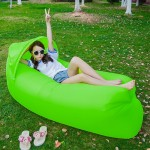 Inflatable Lounger 210D Fabric Compression Air Bag Sofa with Beach Sunshade for Beach / Travelling / Hospitality / Fishing, Size