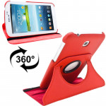 360 Degrees Rotation Litchi Texture Leather Case with Holder for Samsung Galaxy Tab 3 (7.0) / P3200 / P3210(Red)