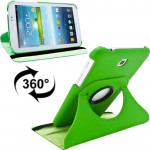 360 Degrees Rotation Litchi Texture Leather Case with Holder for Samsung Galaxy Tab 3 (7.0) / P3200 / P3210(Green)