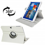 360 Degree Rotation Litchi Texture Leather Case with Holder for Samsung Galaxy Tab 3 (10.1) / P5200 / P5210(White)