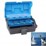 Portable 3 Layer Multifunction Fishing Tackle Box Lure Container Accessories Storage Case(Blue)