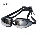 Electroplating Anti-fog Silicone Swimming Goggles for Adults, Suitable for 500 Degree Myopia(Black)