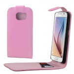 For Samsung Galaxy S6 / G920 Colorful Vertical Flip Magnetic Button Leather Case (Pink)