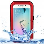 LOVE MEI for Samsung Galaxy S6 Edge Metal Ultra-thin Waterproof Dustproof Shockproof Powerful Protective Case(Red)