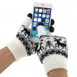 Woven Double Deer Pattern Three Finger Touch Screen Touch Gloves for iPhone 6 & 6s / iPhone 5 & 5S & 5C, iPhone 4 & 4S / iPad /