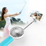 2 in 1 Portable USB Cooling Fan Blower with Three Adjustable Wind Speed + Wire Controlled Monopod Folding Extendable Handheld Po