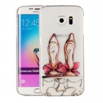 For Samsung Galaxy S6 Edge / G925 Red High-heel Shoes Pattern IMD Workmanship Soft TPU Protective Case