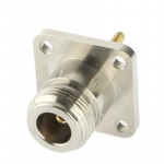 Coaxial RF N Female Adapter with Square Plate