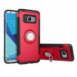 For Samsung Galaxy S8 Phone Ring Armor TPU + PC 360 Degrees Rotation Magnetic Phone Ring Stent Combination Case(Red)