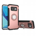 For Samsung Galaxy S8 Phone Ring Armor TPU + PC 360 Degrees Rotation Magnetic Phone Ring Stent Combination Case(Rose Gold)
