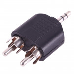 2x RCA Male to 3.5mm Male Jack Audio Y Adapter