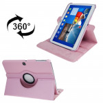 360 Degree Rotation Litchi Texture Leather Case with Holder for Samsung Galaxy Tab 3 (10.1) / P5200 / P5210, Pink(Pink)