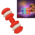 Dog Toy for Pets Tooth Cleaning Chewing Dumbbells Shape Toys of Non-Toxic Soft Rubber , Small Size,Length:12cm(Red)
