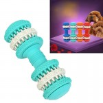 Dog Toy for Pets Tooth Cleaning Chewing Dumbbells Shape Toys of Non-Toxic Soft Rubber , Small Size,Length:12cm(Baby Blue)