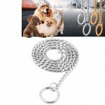 Pet Collars Pet Neck Strap Dog Neckband Snake Chain Dog Chain Solid Metal Chain Dog Collar,Length:35cm(Silver)