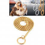 Pet Collars Pet Neck Strap Dog Neckband Snake Chain Dog Chain Solid Metal Chain Dog Collar,Length:60cm (Gold)