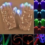 1 Pair Sequins Glowing Gloves LED Flash Gloves Dance and Party Supplies Halloween, Christmas and Other Festival Supplies