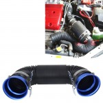 Car Auto Universal Tube Air Filter Adjustable Cold Air Injection Intake System Pipe Without Air Filter(Blue)