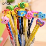 10 PCS Creative Stationery Cartoon Animals Series Wooden HB Pencil with Eraser Children Pencils For Kids School Office Supply, R