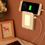 Veilleuse pour la Chambre Illumination à la maison, prise US SE001 5V 2.1A LED Night Light Dual Port de Charge USB + 4 Socket...