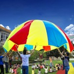 7m Children Outdoor Game Exercise Sport Toys Rainbow Umbrella Parachute Play Fun Toy with 32 Handle Straps for Families / Kinder