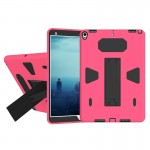 For iPad Pro 10.5 inch PC+Silicone Shockproof Protective Back Cover Case With Holder (Black + Magenta)
