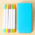 5 PCS / Box Candy Color Fluorescent Marker Pen Fragrance Highlighter Pen Watercolor Pen Marker Pen (Blue)