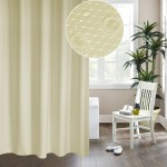 Thickening Waterproof And Mildew Curtain Honeycomb Texture Polyester Cloth Shower Curtain Bathroom Curtains,Size:200*200cm(Beige