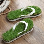 KEMA Summer New Pattern Flat Bottom Home Furnishing Non-slip Simulation Lawn Slippers Flip Flops, Size: 38/39#, Length: 25.5cm