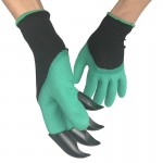 A Pair Latex Protective Insulated Gloves with Claws ABS Plastic Gloves for Digging and Planting, The Right One with Claws