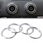 4 PCS Car Outlet Decorative Rings Aluminum Alloy Air Outlet Chrome Trim Ring Car Dashboard Air Vents Cover Sticker Decoration f